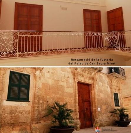 Acabades les obres de restauració de la fusteria interior i exterior del Palau de Can Saura Miret