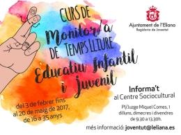 EL AYUNTEMIENTO DE L'ELIANA PROMUEVE UN CURSO DE MONITOR/A DE TIEMPO LIBRE INFANTIL Y JUVENIL PARA MAYORES DE 16 AñOS