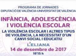 L'ELIANA ACOGE UN CICLO DE JORNADAS SOBRE VIOLENCIA ESCOLAR EL PROXIMO 14 DE DICIEMBRE