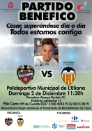 """""""César todos estamos contigo"""" lema del partido benéfico que unirá a Valencia CF y Levante UD Veteranos"""