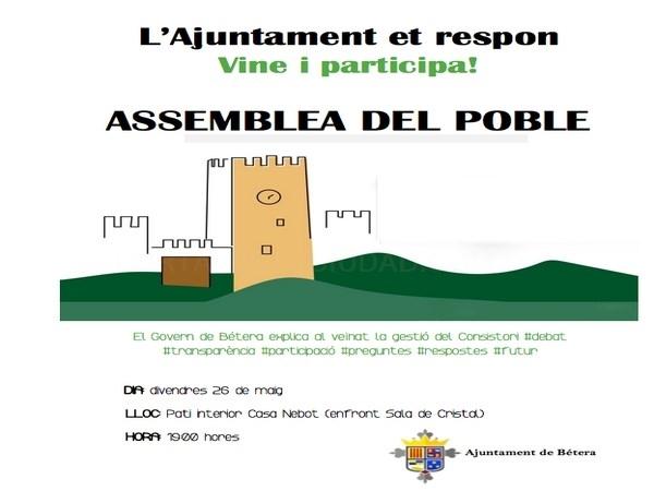 El Ayuntamiento de Bétera organiza una asamblea abierta a los ciudadanos para explicar la gestión municipal