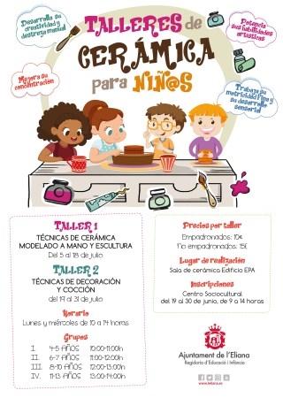 Se ofrecen 2 talleres de cerámica para niños y niñas de 4 hasta 13 años, durante el mes de julio