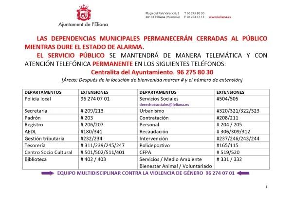 El Ayuntamiento de l´Eliana habilita más de 40 líneas telefónicas para atender a la ciudadanía