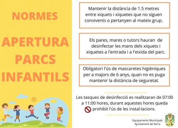 El Ayuntamiento de Sierra abrirá mañana los parques infantiles del municipio