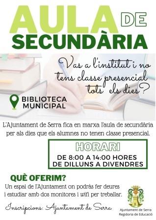 Aula de secundaria gratuita para el alumnado que no tiene clase presencial todos los días en Serra
