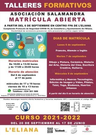 La matrícula per als tallers de Salamandra es realitzarà del 6 al 8 de setembre a l'Eliana