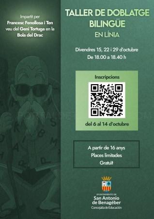 La concejalía de Educación de San Antonio de Benagéber ofrece un nuevo taller de doblaje bilingüe online