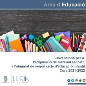 El Ayuntamiento de Llíria convoca las ayudas para material escolar de 2º Ciclo de Educación Infantil
