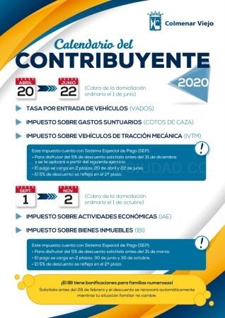 YA ESTá DISPONIBLE EL CALENDARIO DEL CONTRIBUYENTE 2020 DE COLMENAR VIEJO