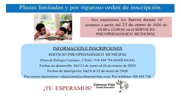 ABIERTAS LAS INSCRIPCIONES PARA ESCUELA DE FAMILIAS 2020
