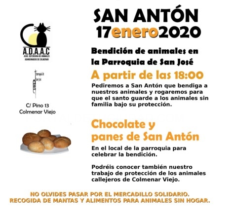LAS MASCOTAS RECIBIRáN ESTE VIERNES LA BENDICIóN DE SAN ANTóN EN LA PARROQUIA SAN JOSé
