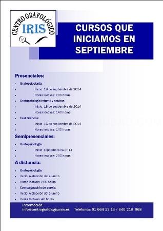 Centro grafologico Iris: unico centro en España que abarca todos los campos de la grafologia, cursos de grafologia, metodo unico en el centro de superacion personal a traves de la escritura