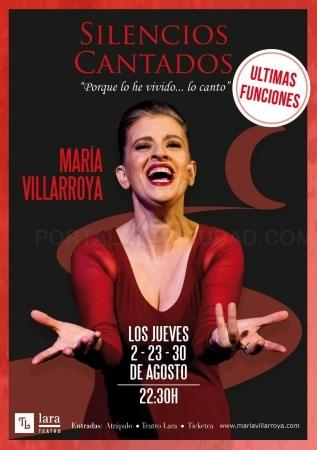 María Villarroya se convierte en  la  reina  del  escenario. Teatro LARA jueves 23 y 30 de agosto