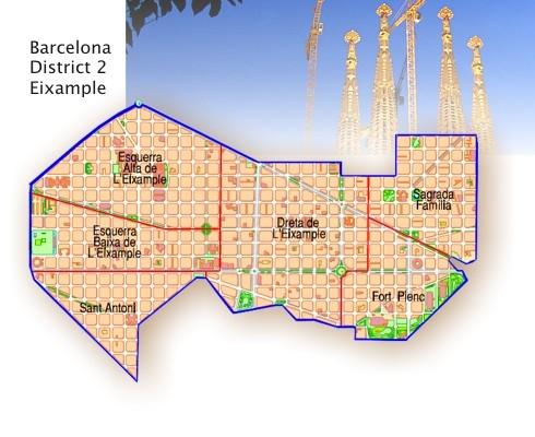 Eixample Dreta Barcelona Mapa.Distrito Del L Eixample Y Sus Barrios Barrios De Barcelona