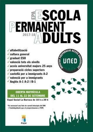 A partir del 11 de septiembre, continúa formándote en la Escuela Permanente de Adultos de Puçol