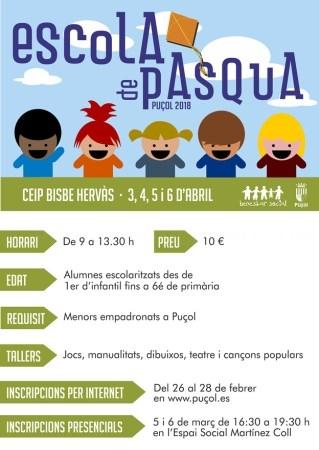 La Escola de Pasqua, entre los días 3 y el 6 de abril en el colegio Obispo Hervás en Puçol