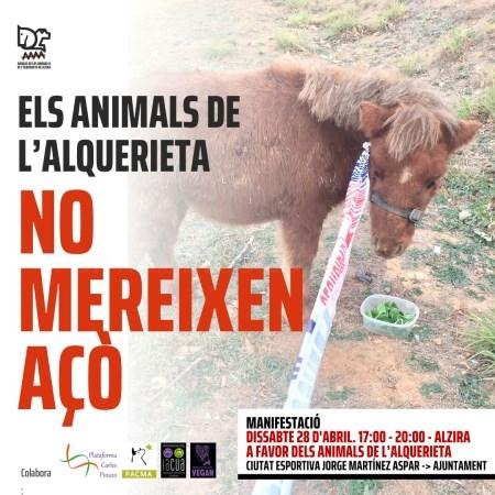 La Plataforma Carles Pinazo se suma este sábado a la manifestación por los animales de la Alquerieta de Alzira
