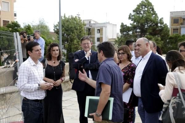 Puig ofrece la colaboración de la Generalitat para que la restauración del muro de 'Los Silos' de Burjassot se efectúe cuanto antes