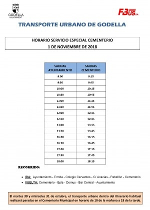El autobús municipal de Godella ofrecerá un horario especial hacia el cementerio el día de Todos los Santos