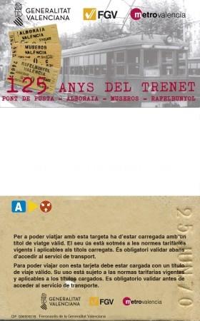 FGV PONE A LA VENTA UN BILLETE CONMEMORATIVO DEL 125 ANIVERSARIO DE LA LLEGADA DEL TRENET A RAFELBUNYOL