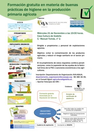 Godella acogerá una formación gratuita en materia de buenas prácticas de higiene en la producción primaria agrícola