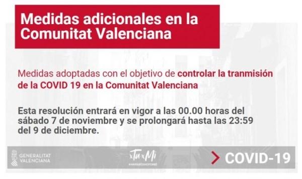 Nuevas restricciones en la Comunidad Valenciana centradas principalmente en la reducción de aforos
