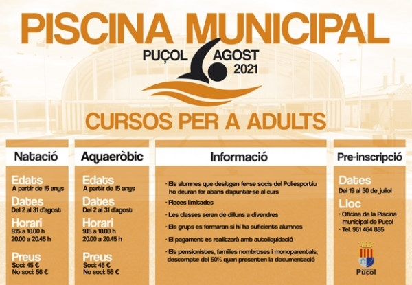 En agosto continúan los cursos de natación en la Piscina Municipal de Puçol
