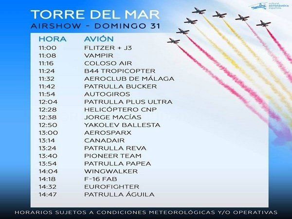 TORRE DEL MAR AIR SHOW - HORARIOS DOMINGO 31