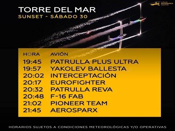 TORRE DEL MAR AIR SHOW - HORARIOS SáBADO 30