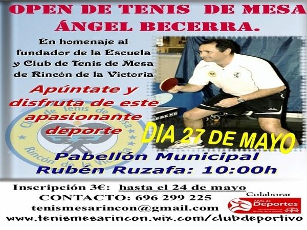 Rincón de la Victoria celebra el I Open de Tenis de Mesa en homenaje a Ángel Becerra, fundador de la escuela municipal