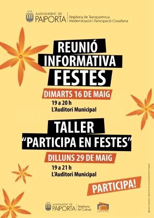 El Auditorio Municipal de Paiporta acogerá este martes una reunión informativa y un taller participativo para preparar las Fiestas Populares 2017