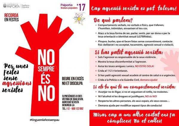 Paiporta lanza una campaña de concienciación contra las agresiones sexistas en las Fiestas Populares 2017